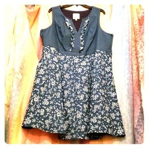 Blue/Floral Light Denim Dress WITH POCKETS!